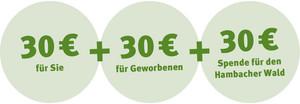 30 € Rechnungsgutschrift für Karbener-Taxi - 30 € Startguthaben für Sie - 30 € Spende für den BUND NRW e.V., der sich auf dem Rechtsweg für den Erhalt des Hambacher Forstes einsetzt